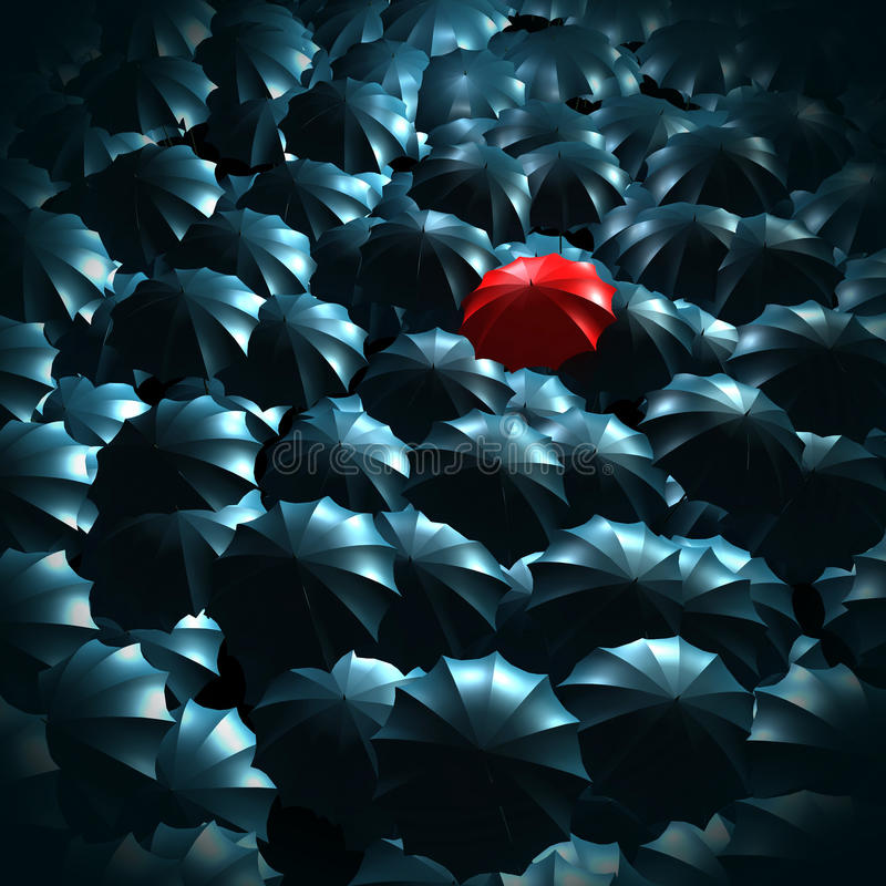 Standing out from the crowd concept. With umbrellas royalty free illustration
