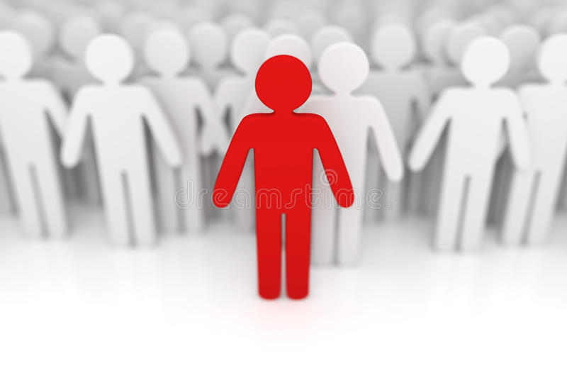 Standing out from the crowd. 3d render royalty free illustration