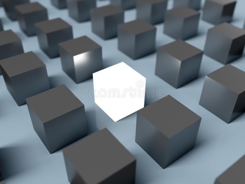 Standing out of the crowd. 3D rendering stock illustration