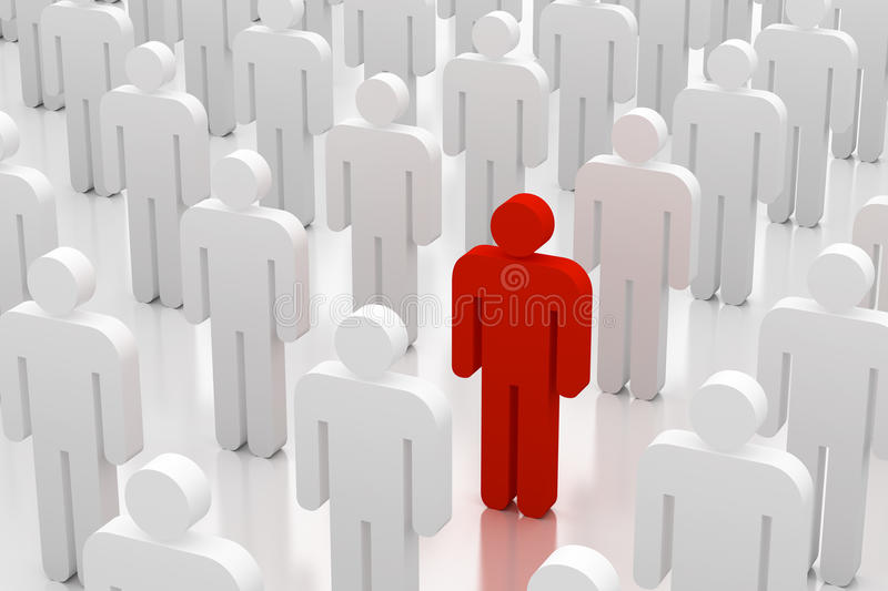 Standing out from the crowd stock photography