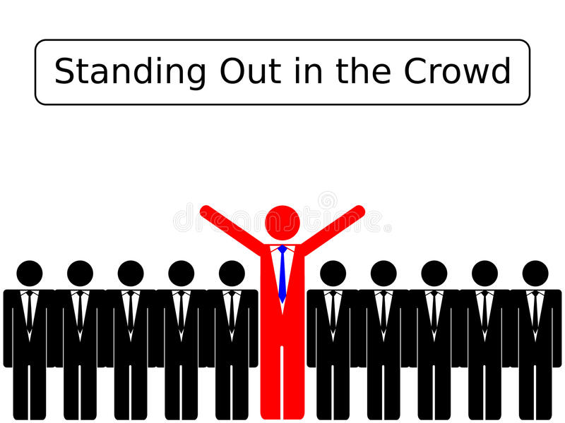 Standing Out in the Crowd. A set of stick figure business men depicting standing out in the crowd vector illustration