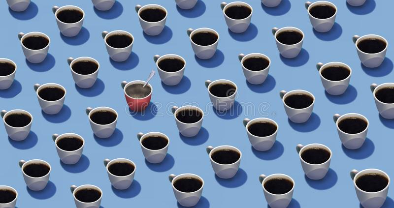 Standing out in a crowd is the theme of this image where identical cups of coffee are in rows but one cup is different from the stock illustration