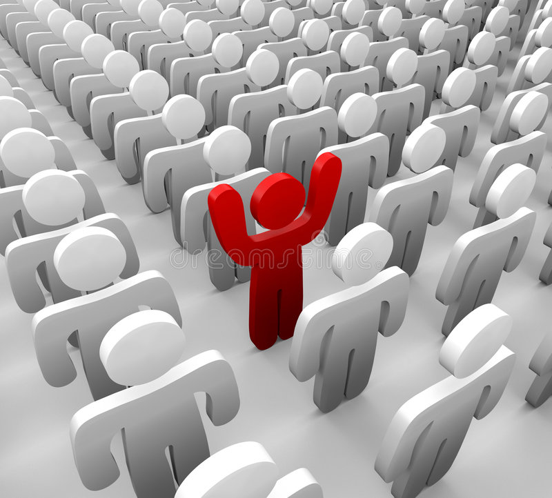 Standing Out in a Group. An individual raising his hands to stand out in a crowd vector illustration