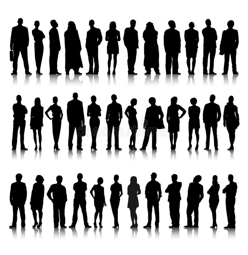 Standing Silhouette Of Crowd Of Business People royalty free illustration