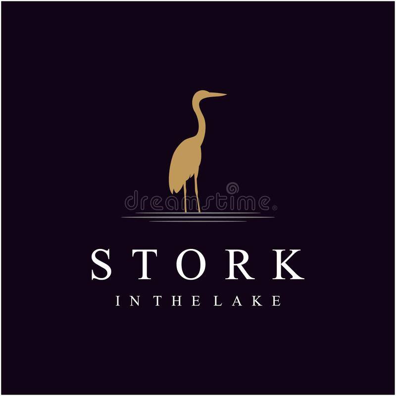 Free Standing Silhouette Stork On The Lake Logo Design Royalty Free Stock Photography - 189081557