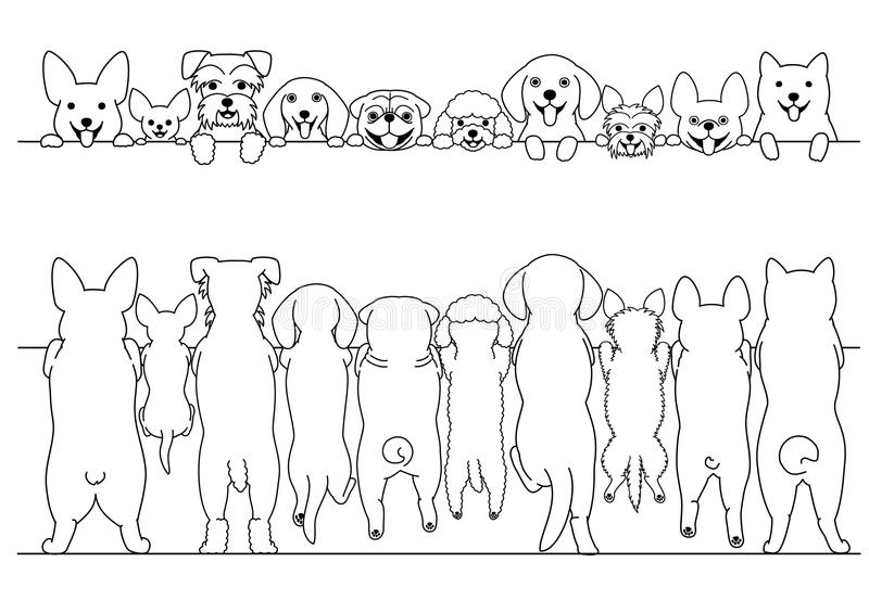 Standing small dogs front and back line art border set stock illustration