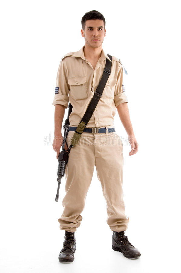 Standing soldier with gun stock photos