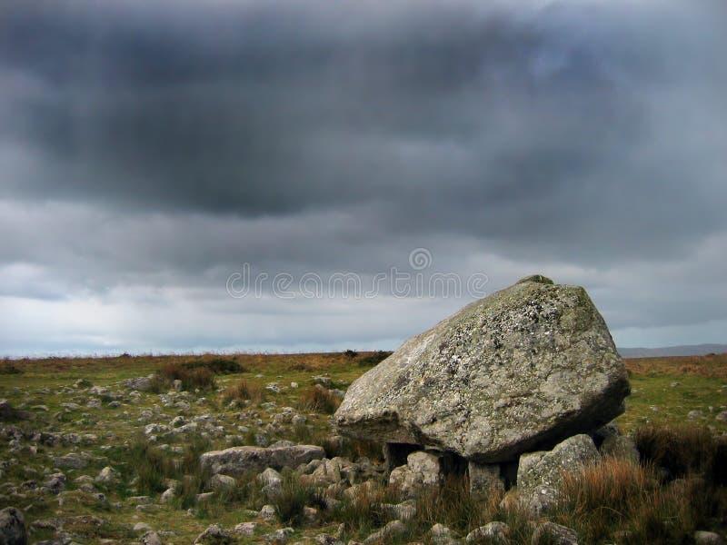 Standing stone. Neolithic burial chamber- dark sky stock image