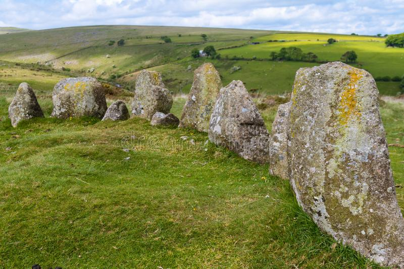 Standing Stone Circle in Dartmoor National Park. The 9 Maidens Standing Stone Circle in Dartmoor National Park stock images