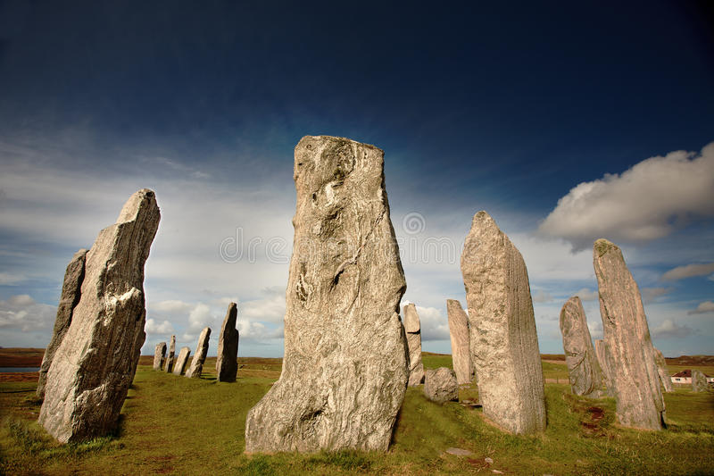 Standing stones. Ancient Callanish standing stones on the Isle of Lewis in the Outer Hebrides, Scotland. NOTE TO REVIEWER: the correct spelling is Callanish or stock photography