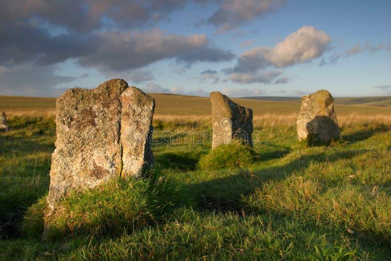 Standing stones. On Dartmoor, England stock photos