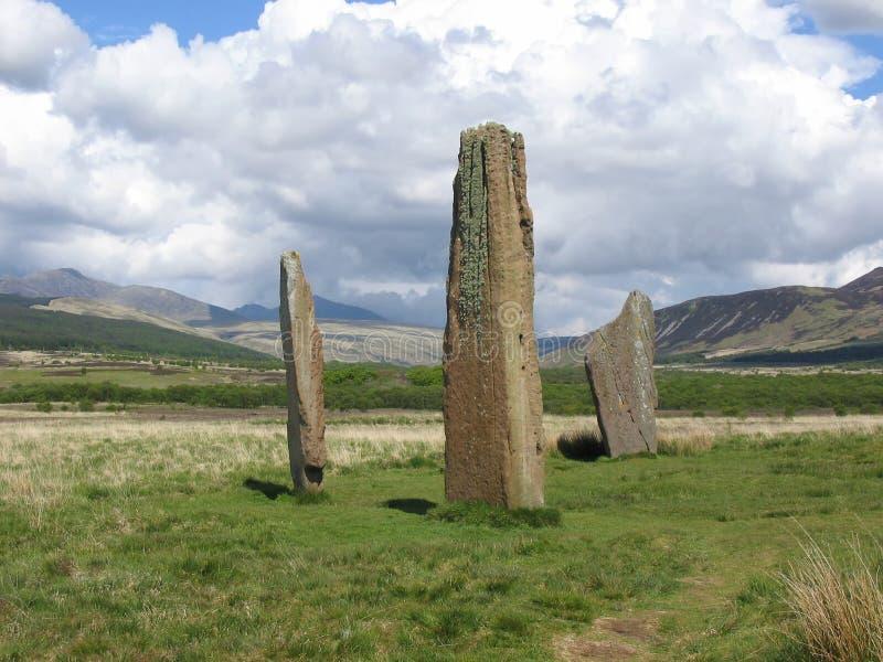 Standing stones, Arran stock images