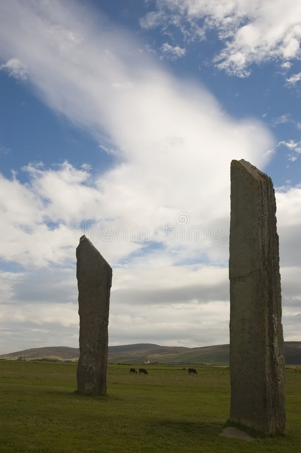 Standing stones of Stennes, Orkney, Scotland. Orkney's Standing Stones of Stennes royalty free stock photos