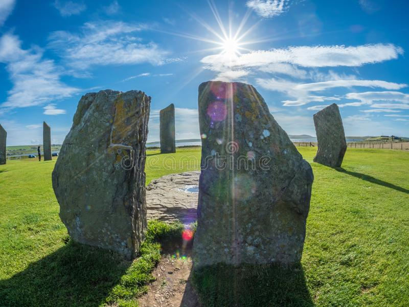 Standing Stones of Stenness, Orkney, Scotland. Neolithic. Standing Stones of Stenness is a Neolithic monument northeast of Stromness on mainland Orkney, Scotland stock photo