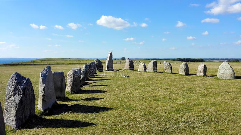 Standing Stones under a brooding sky royalty free stock photography