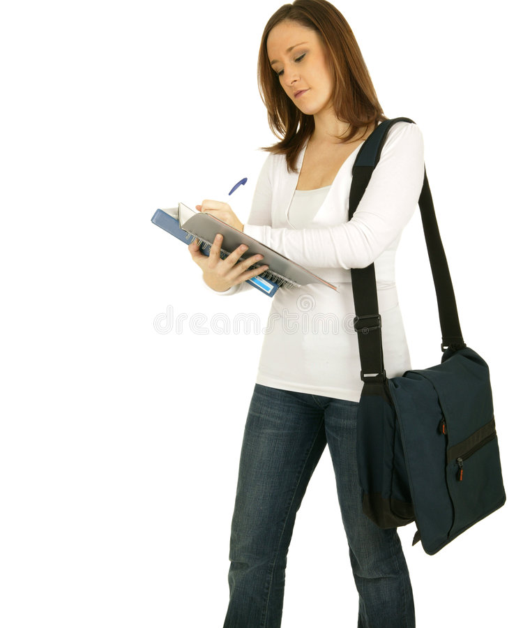 Standing And Taking Note royalty free stock photo