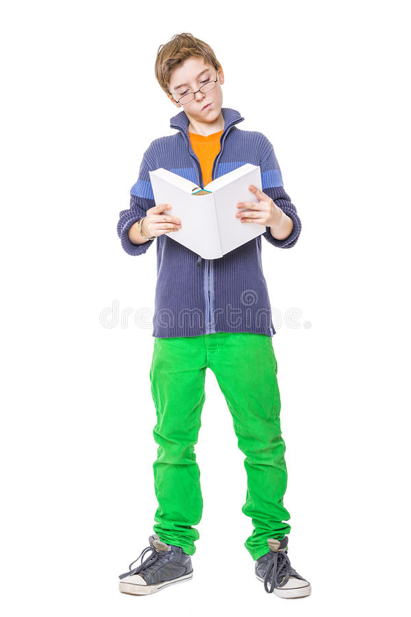 Download Standing Teenager With Glasses Reading A Book Stock Photo - Image of expressing, body: 39897528