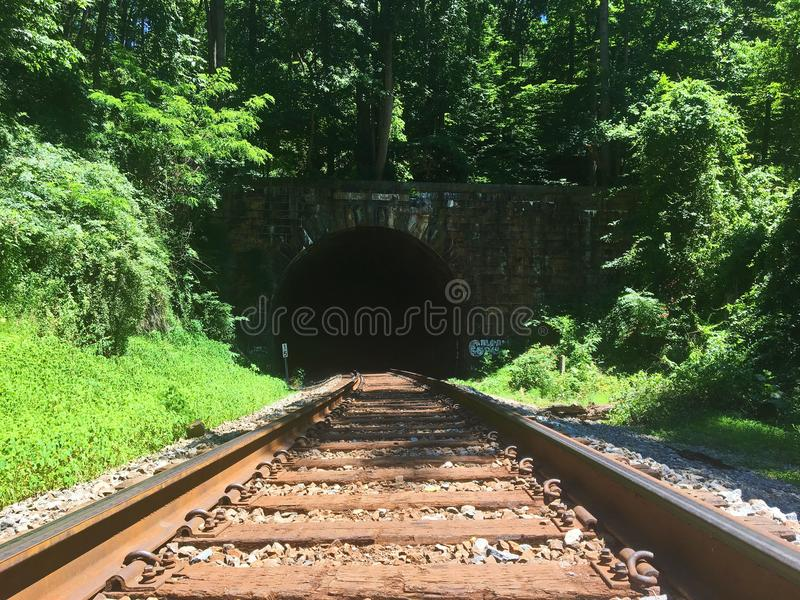 Train Tracks Leading to a Tunnel in the Forest royalty free stock images