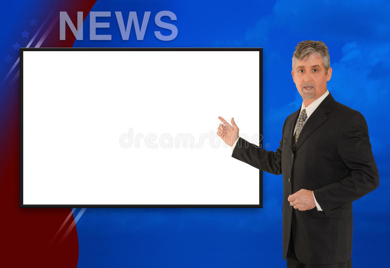 Standing TV newscaster reporter w blank screen. A standing tv television news, weather meteorologist, anchorman or reporter is reporting with a colorful stock image