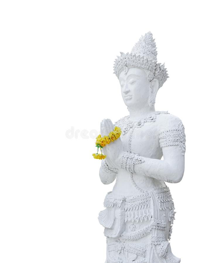 The standing white buddha statue isolated on white background royalty free stock photos