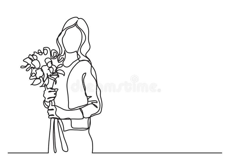 Standing woman with flowers - continuous line drawing. Vector linear illustration royalty free illustration
