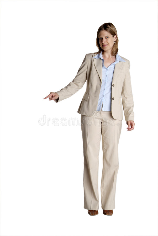 Standing woman shows stock photo