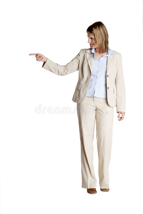 Standing woman shows royalty free stock photo