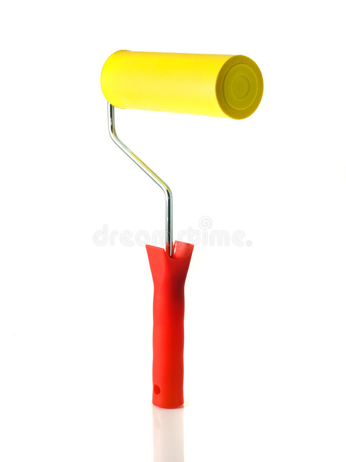 Download Standing Yellow Roller For Renovation Stock Photo - Image: 12626250