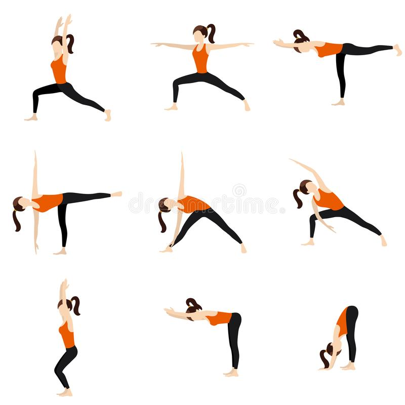 Standing yoga poses set. Illustration stylized woman practicing standing yoga postures stock illustration