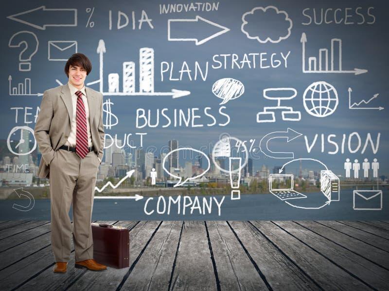 Standingnear innovationplan för affärsman. royaltyfria foton