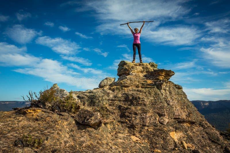 Stando sopra la cima rocciosa in giardini della pietra fotografie stock