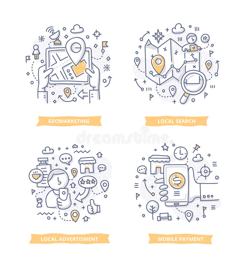 Standort-ansässige Marketing-Gekritzel-Illustrationen stock abbildung