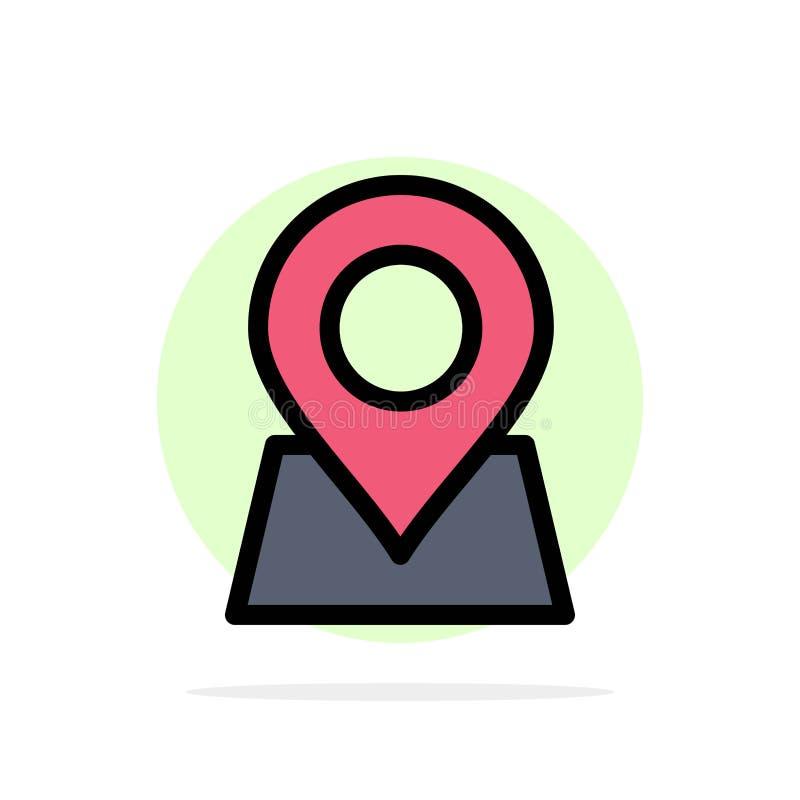 Standort, Karte, Markierung, Pin Abstract Circle Background Flat-Farbeikone vektor abbildung