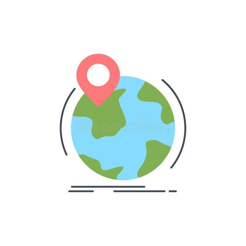 Standort, Kugel, weltweit, Stift, Markierung flacher Farbikonen-Vektor lizenzfreie abbildung