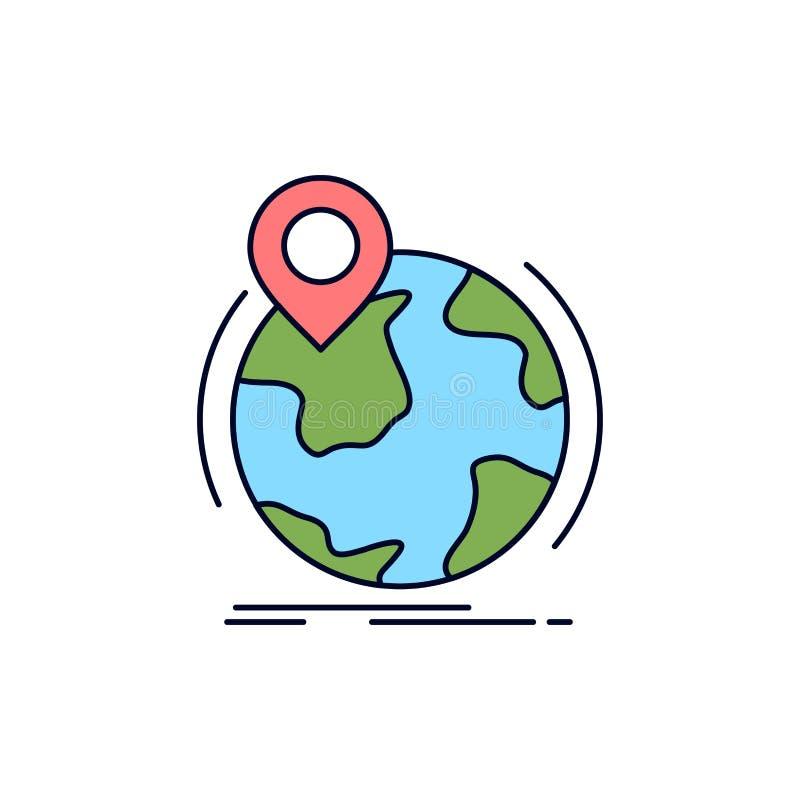 Standort, Kugel, weltweit, Stift, Markierung flacher Farbikonen-Vektor stock abbildung