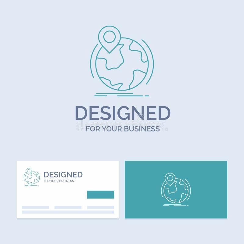 Standort, Kugel, weltweit, Stift, Markierung Geschäft Logo Line Icon Symbol für Ihr Geschäft T?rkis-Visitenkarten mit Markenlogo vektor abbildung