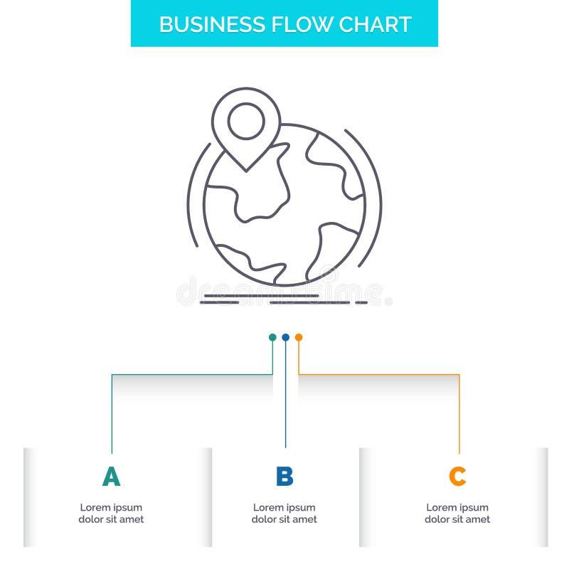 Standort, Kugel, weltweit, Stift, Markierung Gesch?fts-Flussdiagramm-Entwurf mit 3 Schritten r vektor abbildung