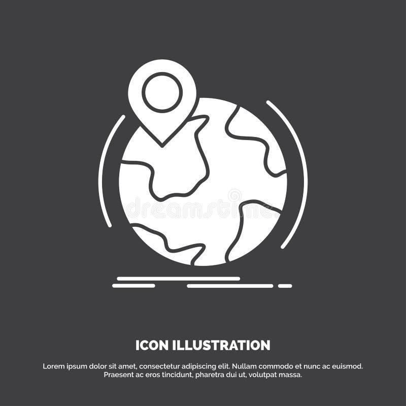 Standort, Kugel, weltweit, Stift, Markierung Ikone Glyphvektorsymbol f?r UI und UX, Website oder bewegliche Anwendung vektor abbildung