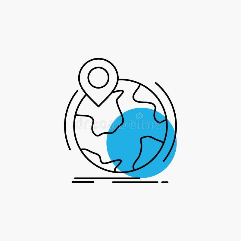 Standort, Kugel, weltweit, Stift, Markierung Linie Ikone vektor abbildung