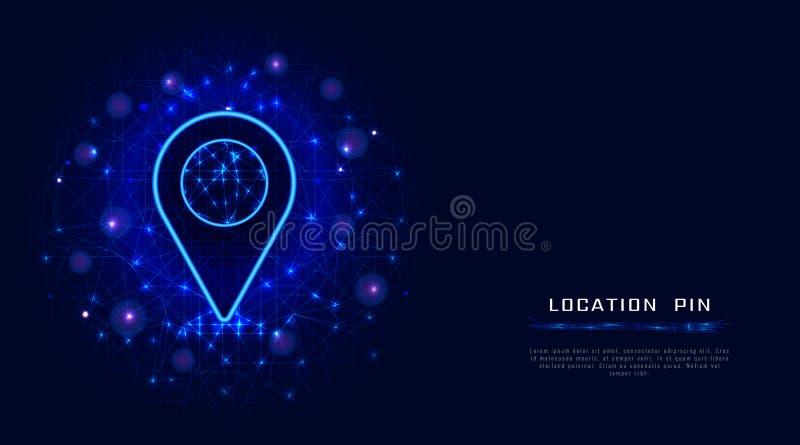 Standort Pin von der niedrigen Polymasche auf abstraktem polygonalem Hintergrund Gps-Navigation, Bestimmungsort, Positionskartenm lizenzfreie abbildung