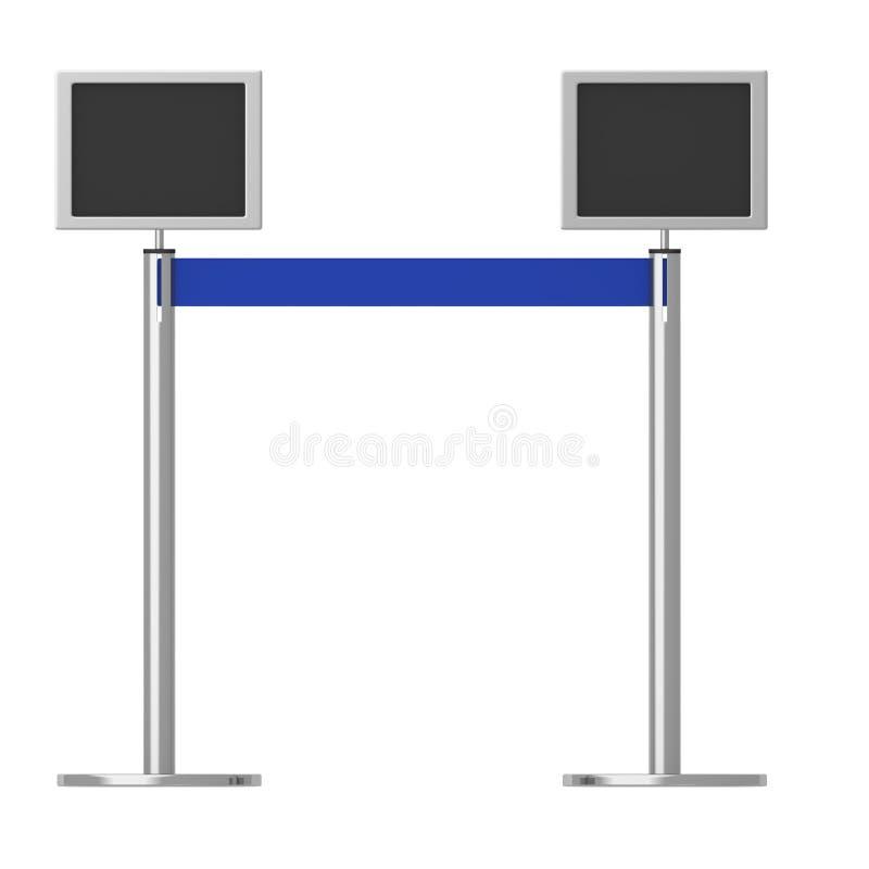 Standplatzsperre mit Bildschirmen lizenzfreie abbildung