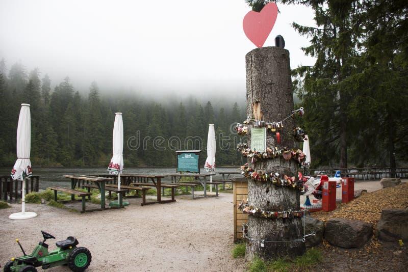 Standpunkt am Mummelsee See in Stuttgart, Deutschland lizenzfreie stockfotografie
