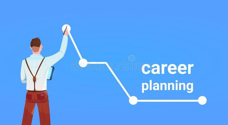 Standpunktwachstumsspitzendiagrammpfeil-Planung- der beruflichen Laufbahnerfolgskonzept des Geschäftsmannes hinteres auf dem blau stock abbildung