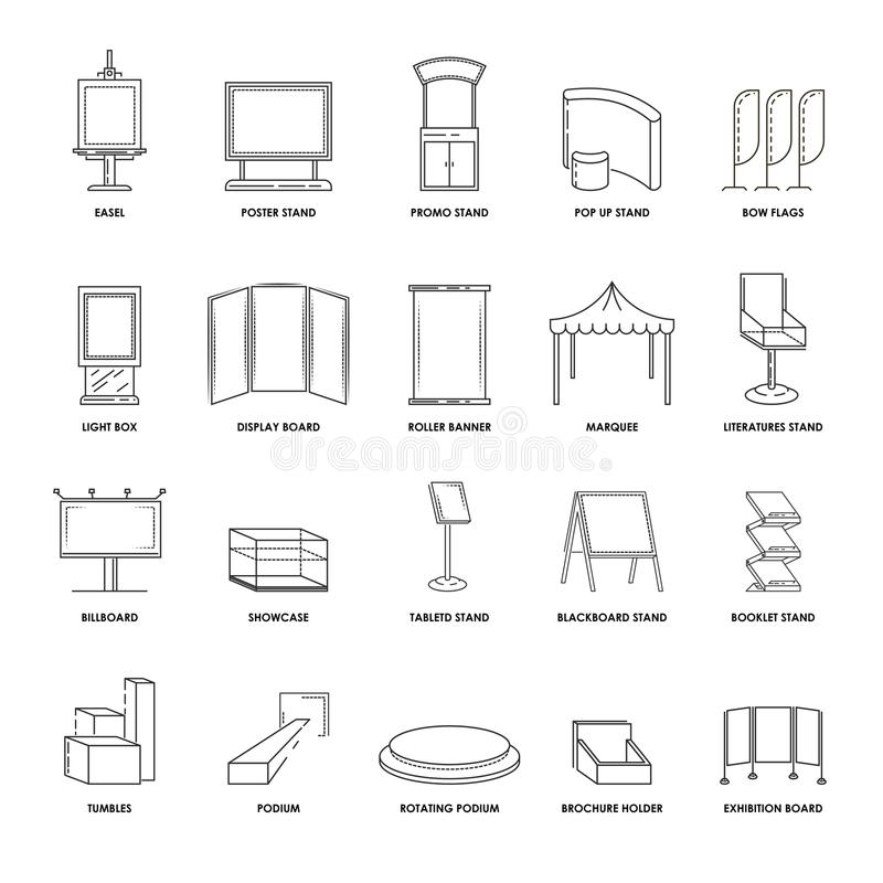 Stands and advertising displays showcase billboard and exhibition constructions vector line isolated icons set royalty free illustration