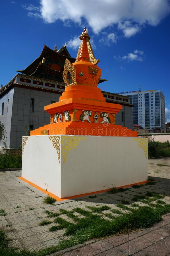 Mongolia Ulaanbaatar Buddhist monastery Gandan stupa. stock photography