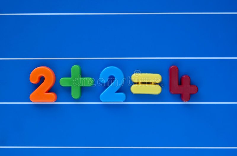 It stands to reason. A simple sum, from a child's toy number set, placed in the centre of a blue, lined background royalty free illustration