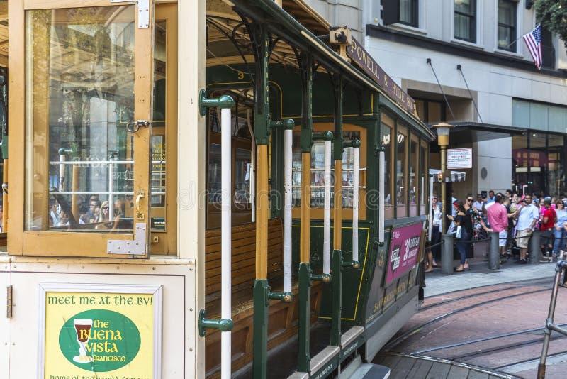 Standseilbahn an der Nabe, Powell-Straße in San Francisco lizenzfreie stockfotografie