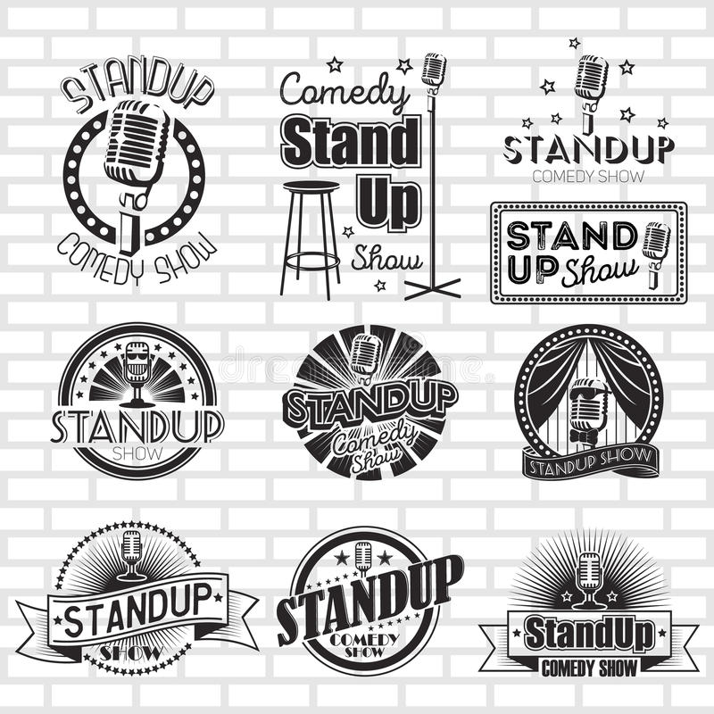 Free Standup Comedy Show Vector Labels Design Royalty Free Stock Photography - 77898987