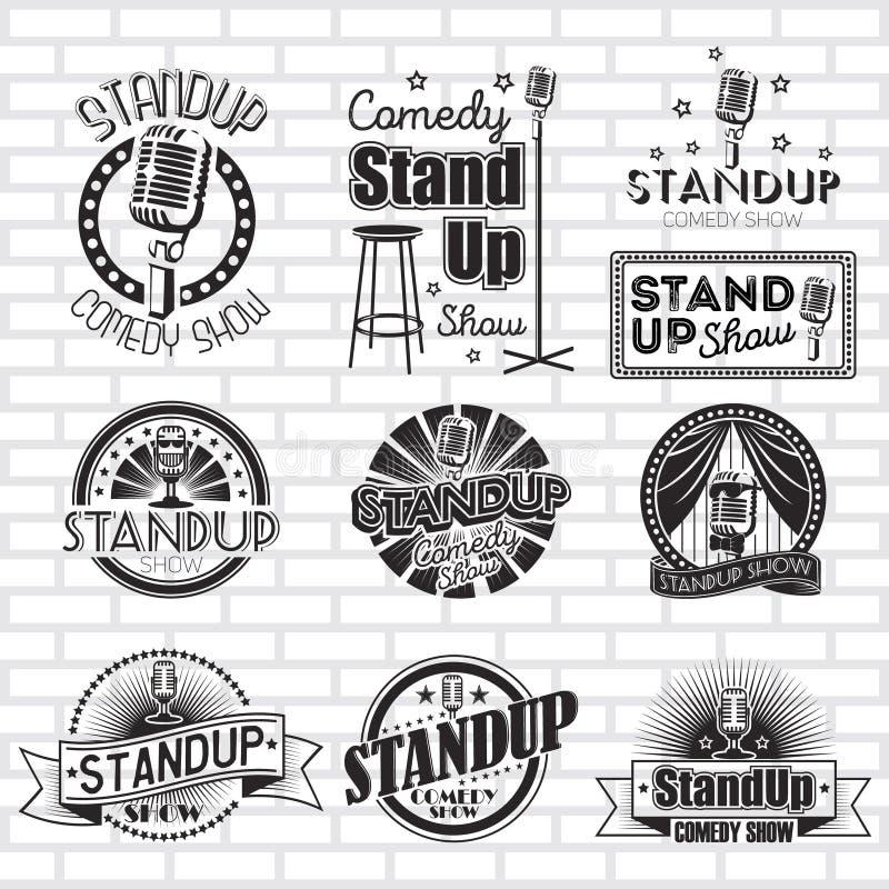 Standup komedie toont vectoretikettenontwerp royalty-vrije illustratie