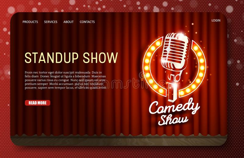 Standup show landing page website vector template. Standup show landing page website template. Vector realistic illustration of empty theater stage with red vector illustration